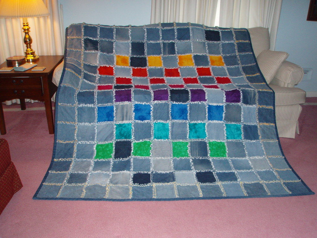 Denim Quilt Denim Rag Quilt With Flannel Squares Did