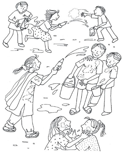 holi coloring pages - holi coloring pages for kids sketch coloring page