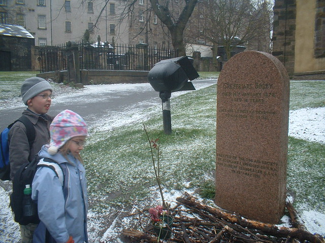 visiting greyfriars bobby's grave in Edinburgh