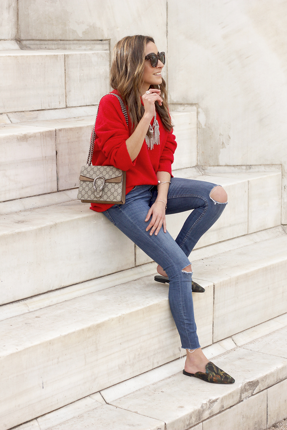 Mules Red sweater Ripped Jeans gucci bag céline sunnies fashion outfit style trend02
