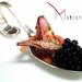 Il benvenuto del menu' pesce; calamaro e il caviale ricavato dal suo nero...