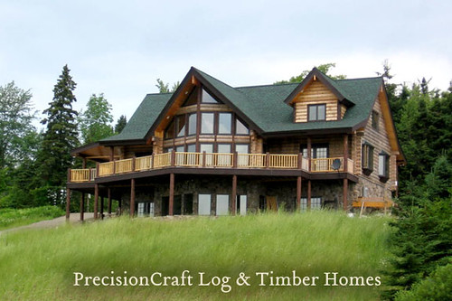 Custom log home located in new hampshire precisioncraf for Home builders in new hampshire