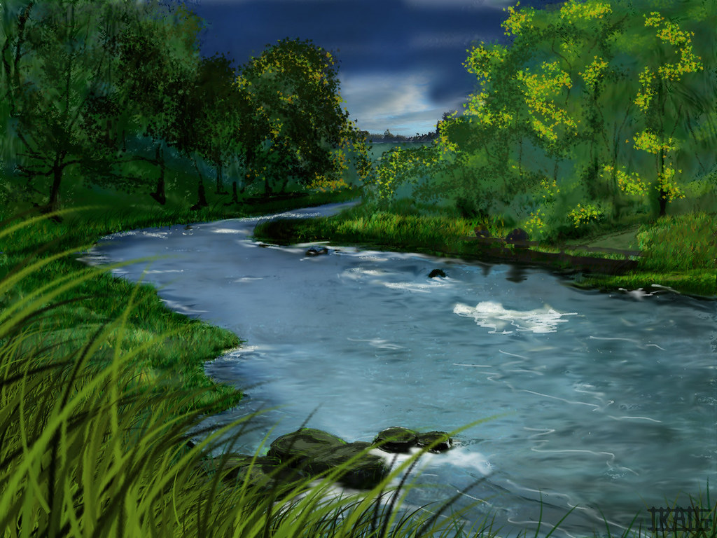 It is a photo of Agile Drawing Of A River