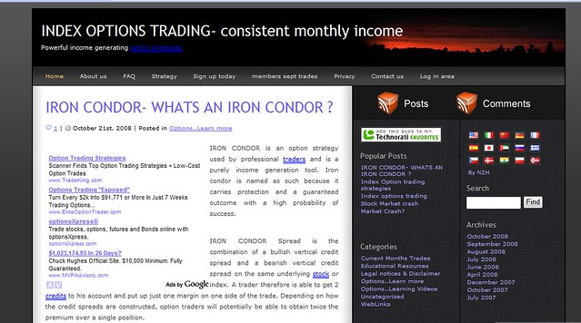 Iron condor index options trading service