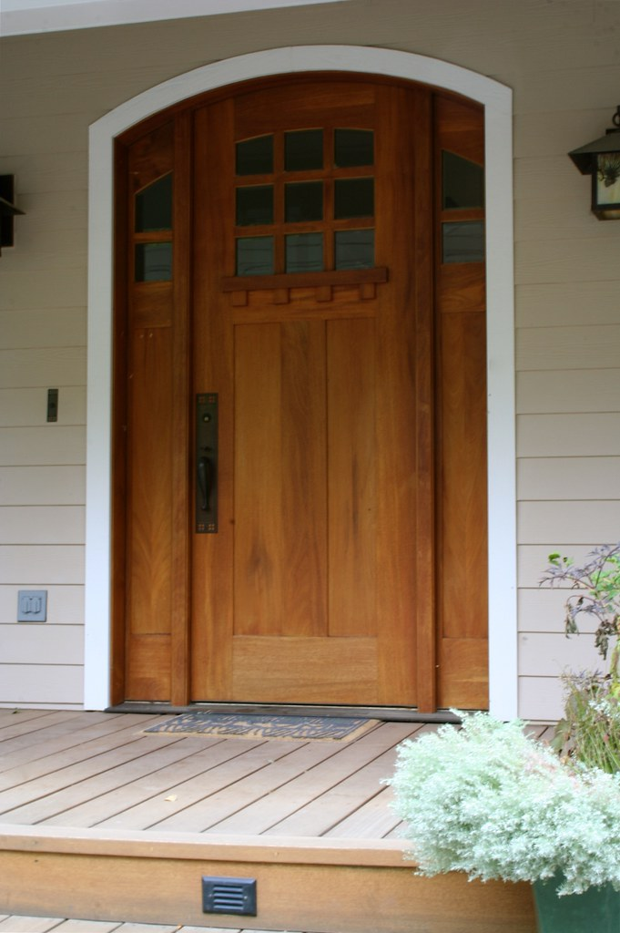 Craftsman style entry door mahogany tim carney flickr for Exterior back door styles