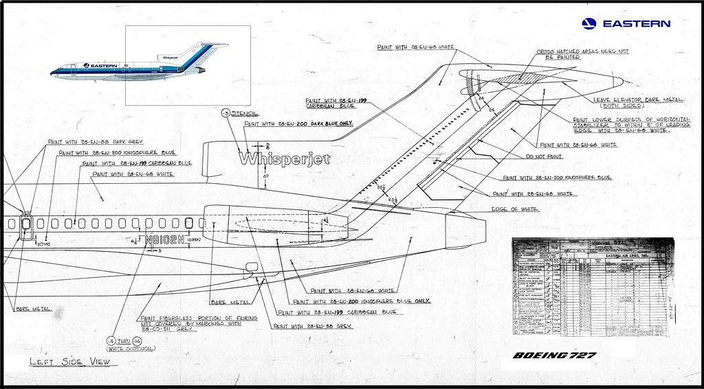 Eastern Air Lines Boeing 727 100 Blueprints Dated