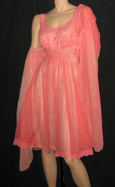 1960s Coral Nylon Lace Nighty Set Vanity Fair Rita
