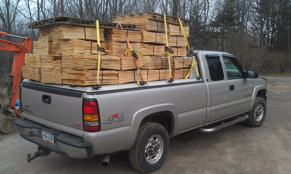 Wood Truck Tops ~ Wood on a heavy duty truck bed cover wooden load sits