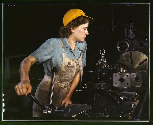 Lathe operator machining parts for transport planes at the Consolidated Aircraft Corporation plant, Fort Worth, Texas  (LOC) | by The Library of Congress