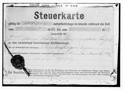 [German vehicle tax registration issued to George Grantham Bain]  (LOC)