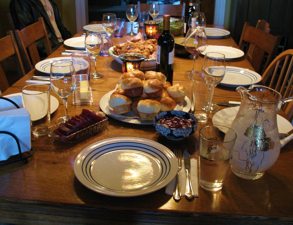 Thanksgiving Table With Food The Dinner