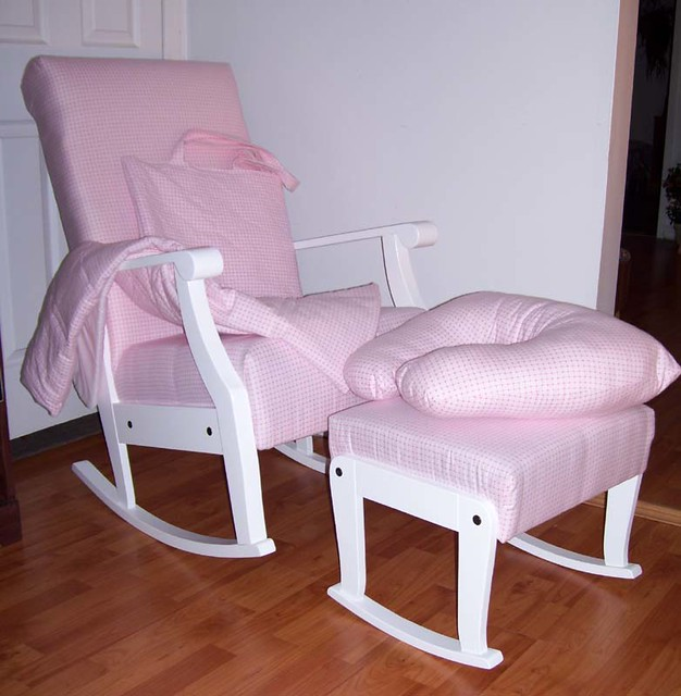 nursery rocker set 5pc pink gingham poplar rocking chair