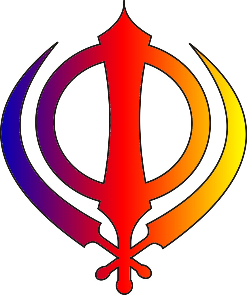 Sikh symbol - Khanda multicoloured Red, yellow and blue | Flickr