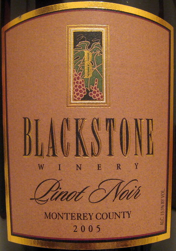 Blackstone Winery 2005 Pinot Noir (front) | by 2 Guys Uncorked
