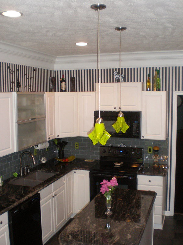 lime green custom pendant lights above kitchen island flickr. Black Bedroom Furniture Sets. Home Design Ideas