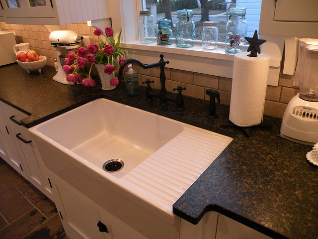 Farmhouse Kitchen Sink With Drainboard : Farmhouse sink with drainboard. Flickr - Photo Sharing!
