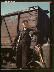 Mike Evans, a welder, at the rip tracks at Proviso yard of the C & NW RR, Chicago, Ill.  (LOC) | by The Library of Congress