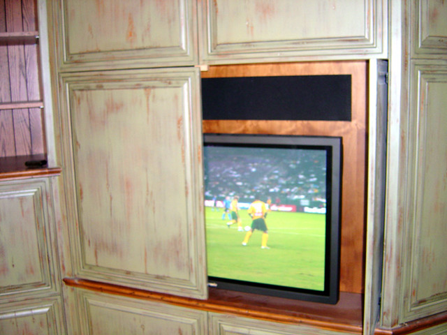 white kitchen cabinets inside tv inside kitchen cabinet this tv and large speaker are 28824