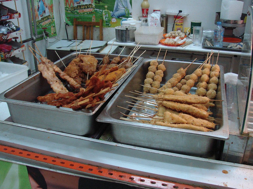 Cafeteria Food Pans ~ Nankai school cafeteria food on a stick is common