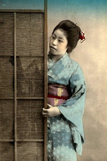 TAKING A PEEK -- A Pretty Geisha Watching a Young Man Visiting in the Next Room | by Okinawa Soba (Rob)