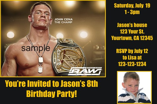 Personalized Wwe Wrestling Invitations Custom Printable Photo