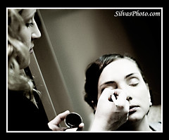Makeup artist doing makeup on bride | by silvasphoto