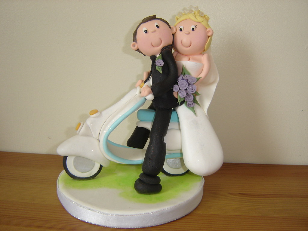 Scooter Wedding Cake Topper Clay Scooter Bride And Groom