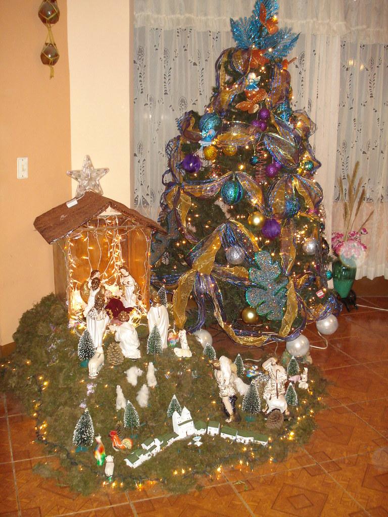 Arbol de navidad y nacimiento familiar celebrando la - Arbol de navidad fotos ...