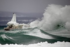 Huge Wave Crashes on the Petoskey Breakwater | by snapstill studio