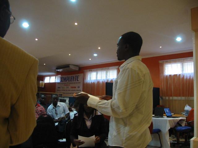 Patrick Machika annoucing the winners at Lilongwe ICT Fair 2007