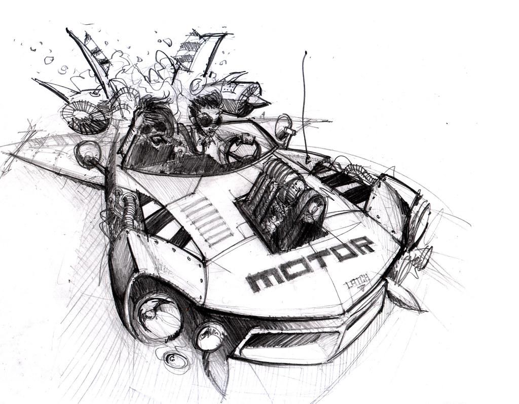 Motor Rocket Car Sketch Michael Doyle Flickr