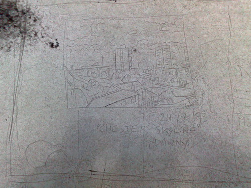 etching on the top floor of tesco 39 s car park in chester i flickr. Black Bedroom Furniture Sets. Home Design Ideas