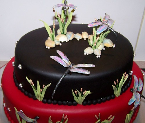 Wedding Cake With Dragonfly