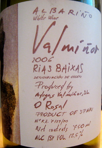 Adegas Valmiñor 2006 Albariño (front) | by 2 Guys Uncorked