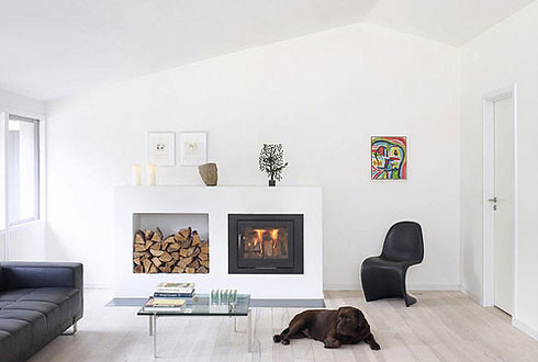smaller fireplace/woodstove with wood storage | Tim Crowe ...