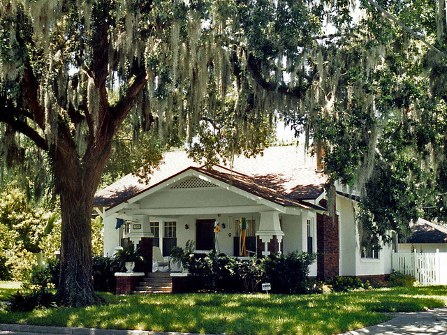 House And Tree Draped With Spanish Moss Sanford Florida