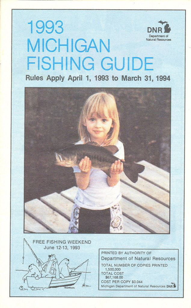1993 michigan vintage fishing license law digest guide for Michigan fishing regulations