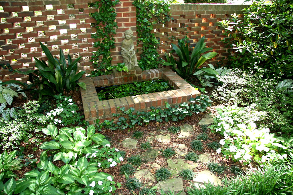Brinker garden brick wall and fountain small brick for Brick garden wall designs homes