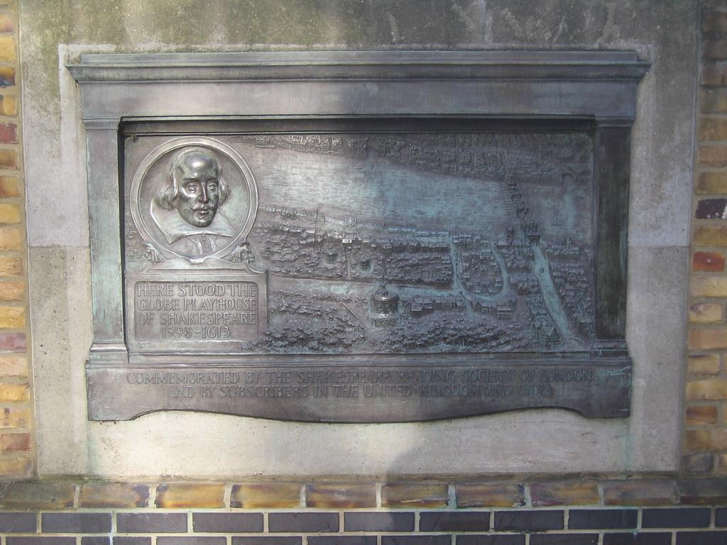 plaque at the original globe theatre  london