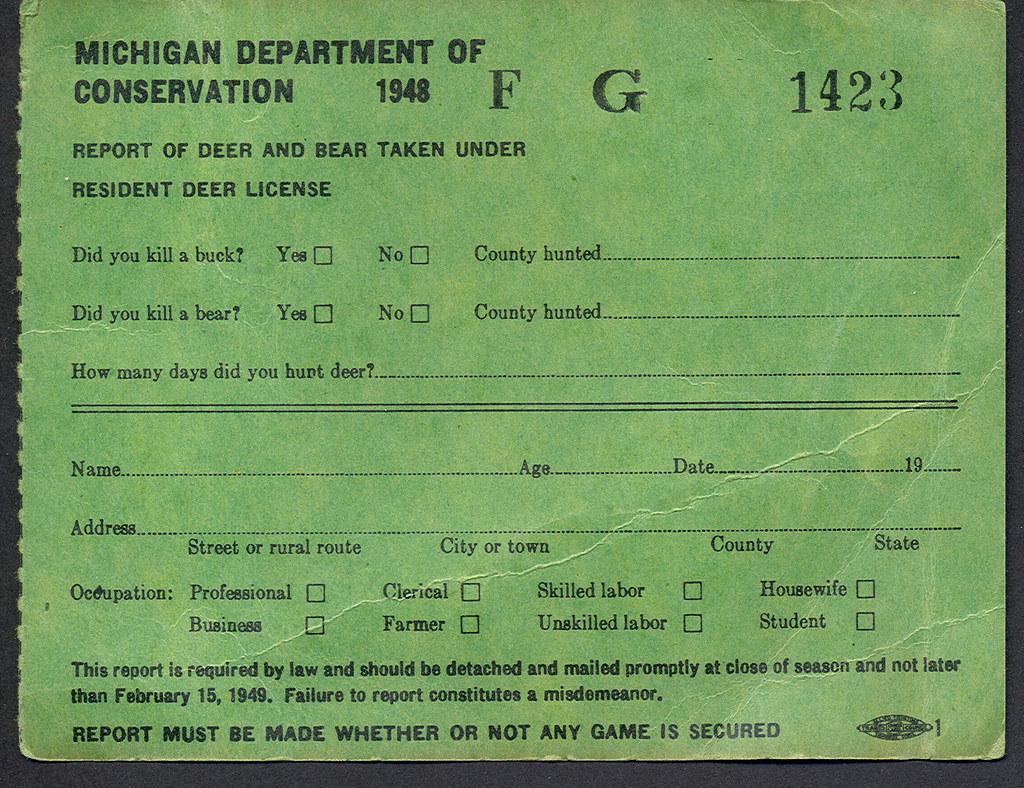 1948 michigan resident deer hunting license report flickr for Fishing license michigan