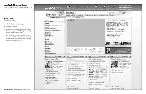 AOL.com Web Strategy Demo: Wireframe: Page 1 of 13 / 2004-08-02 / SML Interaction Design (agency: IconNicholson) | by See-ming Lee (SML)