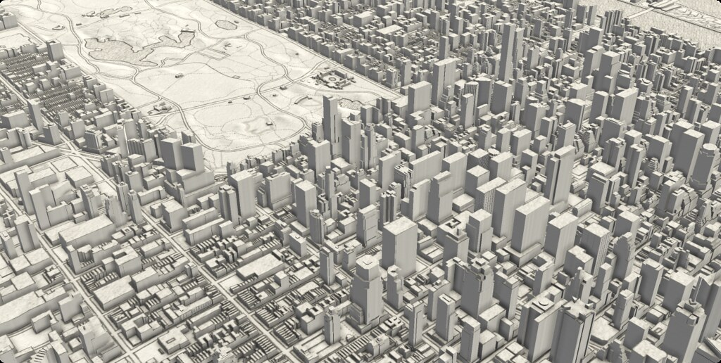 Light grey scaled New York City with 3D buildings and central park