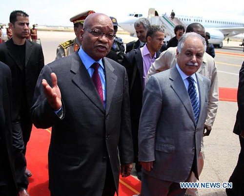 Republic of South Africa President Jacob Zuma with Libyan Prime Minister Baghdadi Mahmudi during his visit to Tripoli on May 30, 2011. The Libyan government accepted the African Union plan to resolve the conflict in this North African state. | by Pan-African News Wire File Photos