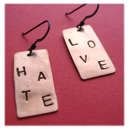 Love/Hate Earrings Set | by Paw & Claw Designs