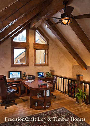 Custom Design Timber Frame Home Office In Loft By Prec