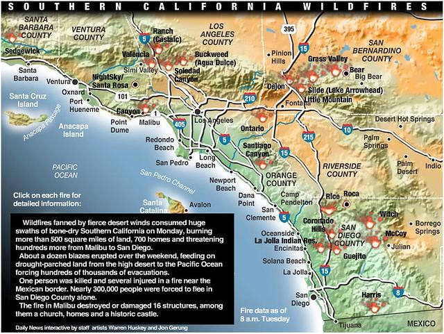 Southern California Wildfires Map soo LALong