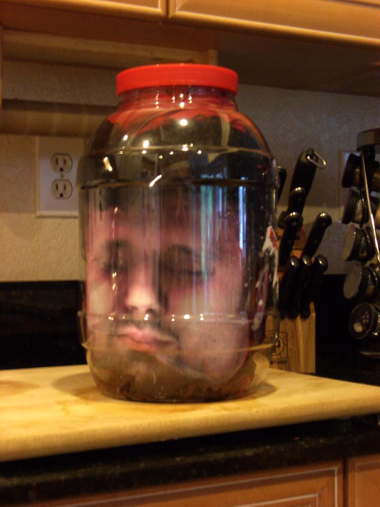 Head in a jar on the cutting board for Heads in jar