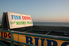 Fish and Chip sign on the beach at Brighton | by moluki
