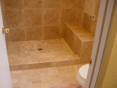 ... Travertine Tile Bathroom With Custom Made Bench | By Astratile