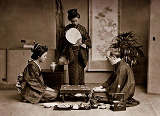 "MASTER TEACHES TWO GEISHA THE GAME OF ""GO"" -- Relaxing with a Board Game in Old Japan 